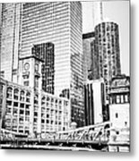 Black And White Picture Of Chicago At Lasalle Bridge Metal Print