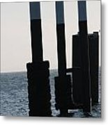 Black And White Poles On Water Metal Print