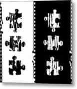 Black And White Puzzles Digital Painting Metal Print