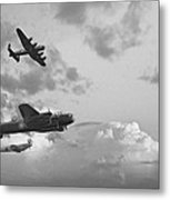 Black And White Retro Image Of Batttle Of Britain Ww2 Airplanes Metal Print by Matthew Gibson