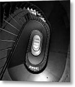 Black And White Spiral Staircaise Metal Print