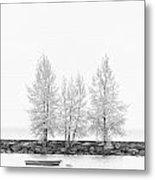Black And White Square Tree  Metal Print