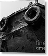 Black And White Stern With Ladder And Tires Metal Print