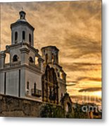 Black And White Sunrise Over Mission Metal Print