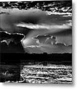 Black And White Sunset Over The Mead Wildlife Area Metal Print