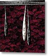 Black And White Tears Falling Into Blood Red Lotus Metal Print