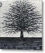 Black And White Snow Cold Winter Tree Metal Print
