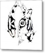 Black And White Trio Of Koi Metal Print