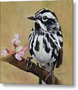 Black And White Warbler Metal Print