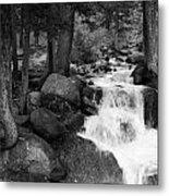 Black And White Waterfall Metal Print