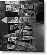 Black And White World Directions Metal Print