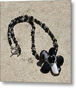 Black Banded Onyx Wire Wrapped Flower Pendant Necklace 3634 Metal Print