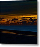 Black Beach With Orange Sky Metal Print
