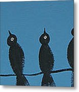 Black Birds On The Line Metal Print