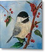 Black Capped Chickadee And Winterberries Metal Print