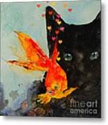 Black Cat And The Goldfish Metal Print by Paul Lovering