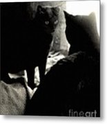 Black Cat And Vintage Mirror  Metal Print