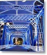 Black Cat Blue Bridge Metal Print