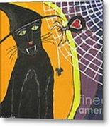 Black Cat In A Hat  Metal Print