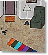 Essence Of Home - Black Cat In Living Room Metal Print