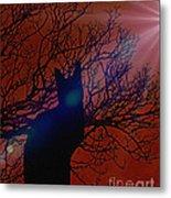 Black Cat In The Moonlight Metal Print