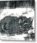 Black Cat Monoprint-2 Metal Print