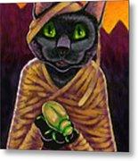Black Cat Mummy Monster Metal Print