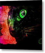 Black Cat Neon Metal Print