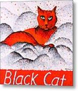 Black Cat Orange Metal Print