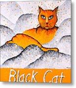 Black Cat Yellow Metal Print
