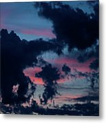 Black Clouds Against Sunset Metal Print