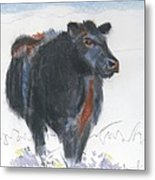 Black Cow Drawing Metal Print by Mike Jory