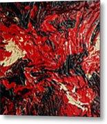 Black Cracks With Red Metal Print