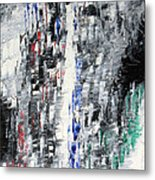 Black Crystal Cave - Black White Abstract By Chakramoon Metal Print