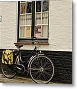 Black Cycle Rests On Window Sill Bruges Belgium Metal Print