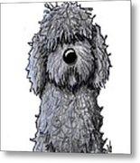 Black Doodle Dog Metal Print