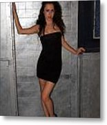 Black Dress Woman Metal Print
