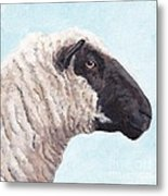 Black Face Sheep Metal Print