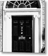 Black Georgian Door With Brass Letterbox Door Knob And Knocker And Fanlight In Dublin Metal Print