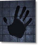 Black Hand Cyan Metal Print