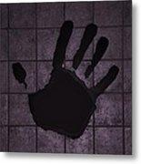 Black Hand Pink Metal Print