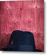 Black Hat On Red Velvet Chair Metal Print