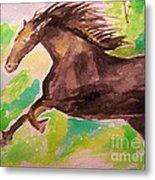 Black Horse Metal Print by Sidney Holmes