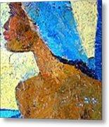 Black Lady With Blue Head-dress Metal Print