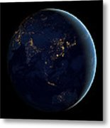 Black Marble - Asia And Australia City Lights Metal Print