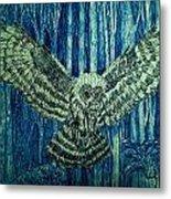 Black Owl On Blue Night Metal Print