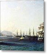 Black Sea Fleet In The Bay Of Feodosia Just Before The Crimean War 1890 Metal Print