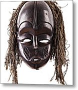 Black Tribal Face Mask On Isolated On White Metal Print