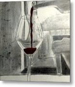 Black White And Red Wine Metal Print