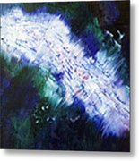 black white lightning blue green abstract ENERGY FORCE by Chakramoon Metal Print